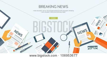 Vector illustration. Flat header. Online news. Newsletter and information. Business and market news.