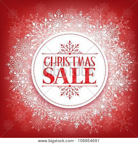 Merry Christmas Sale in Winter Snow Flakes Background