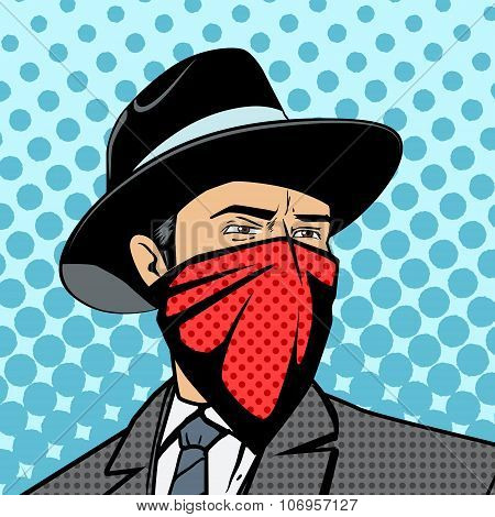 Gangster with hidden face pop art retro style  vector illustration. Comic book imitation poster