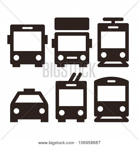 Public Transport Icons Isolated On White Background