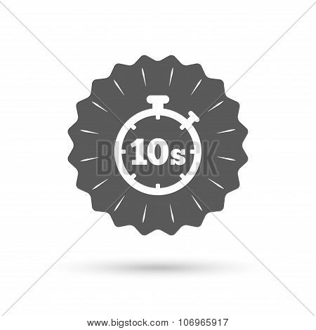 Vintage emblem medal. Timer 10 seconds sign icon. Stopwatch symbol. Classic flat icon. Vector poster
