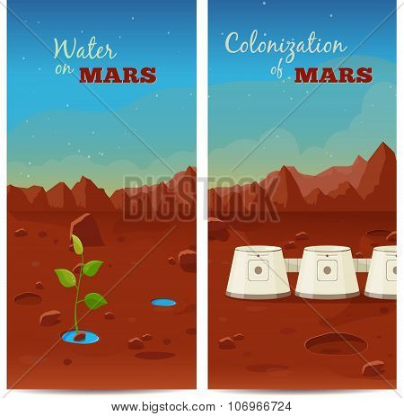 The program of colonization of Mars. Water on Mars. Vector banners
