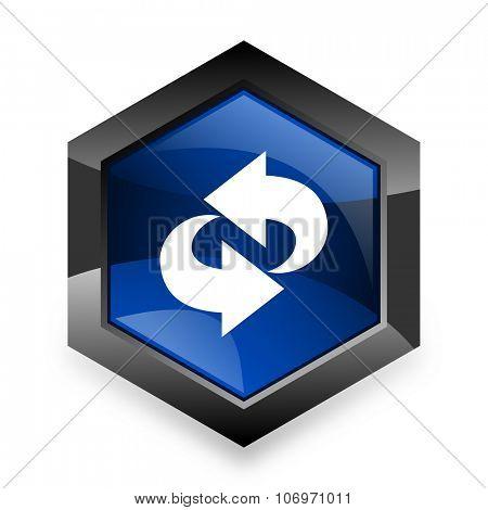 rotation blue hexagon 3d modern design icon on white background poster
