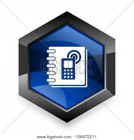phonebook blue hexagon 3d modern design icon on white background