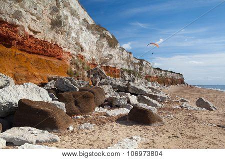 Hunstanton Cliffs In Norfolk.great Britain.