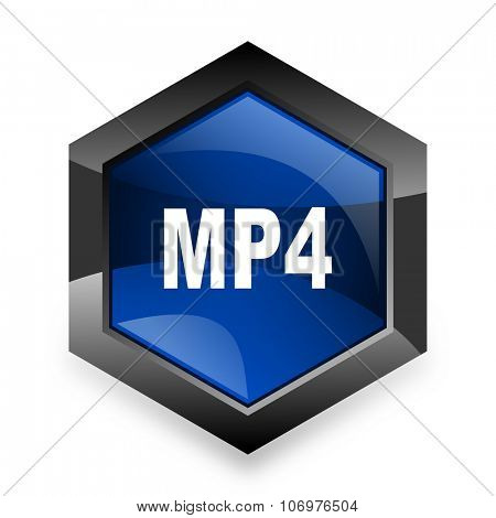 mp4 blue hexagon 3d modern design icon on white background