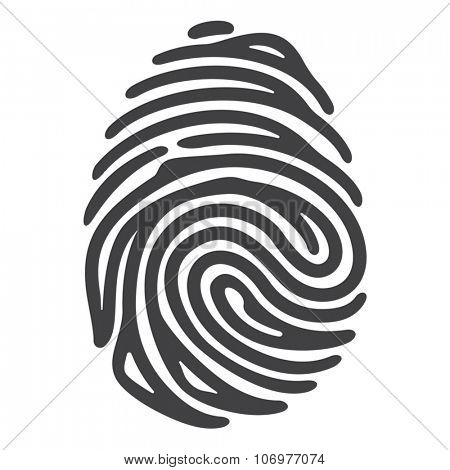 Vector black fingerprint isolated on white background. Security technology