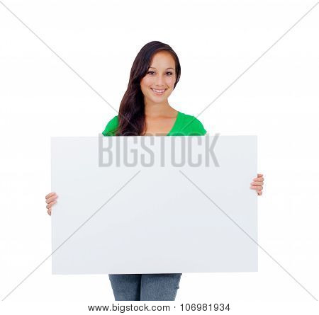 Beautiful Caucasian Woman Holding A Blank Sign