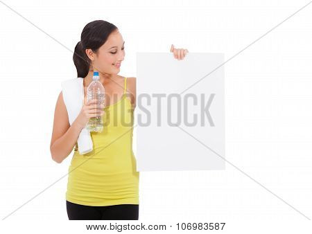 Sport Fitness Woman Holding Empty Card.