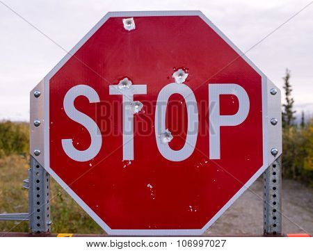 Stop Sign Riddled With Bullet Holes Country Vandalism