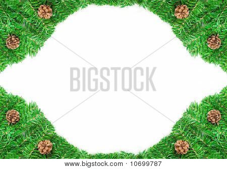 Christmas green frame work isolated on white background