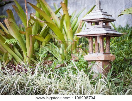 Wooden Lamp Decorated In Garden
