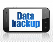 Data concept: Smartphone with blue text Data Backup on display poster