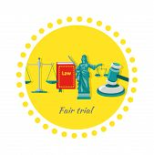 Fair trial concept icon flat design. Law and scale, justice and court, balance legal, measurement equilibrium, freedom protection, equal and libra, decision acquittal, judicial litigation illustration poster