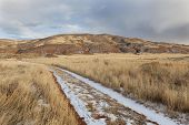 hiking trail on a ranch road with snow and footprints - Red Mountain Open Space in northern Colorado (Larimer County) fall scenery with dry grass poster