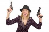 Gangster woman with gun isolated on white poster