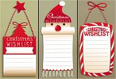 Three holiday backgrounds with Christmas wish list poster