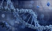Biochemistry science concept with DNA molecules on blue background poster