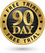 90 day free trial golden label vector illustration poster