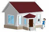 Broken window. Boy soccer player ball broke window. Home insurance. Isolated on white vector illustration poster