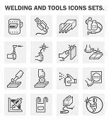 Welding and tools icons sets on white background. poster