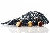Blue fishing net with corks over white background poster