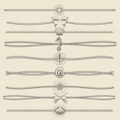 Set of nautical ropes and chains decor elements in hipster style. Hand drawn dividers and borderswith dolphins seashells seahorse pearl oars etc. Only free font used. poster