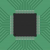 a microcontroller. CPU Processor with tracks. Vector illustration poster