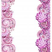 Seamless ornamental strip frame with colorful eastern filigree ornament. Watercolour art poster