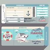 Cruises to Paradise. Cruise ship boarding pass flat graphic design template. Face and back side poster