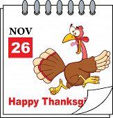 Cartoon Calendar Page With Cartoon Turkey Escape poster