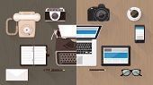 Work desktop and devices evolution from typewriter to keyboard business and communication technology evolution and improvement concept poster