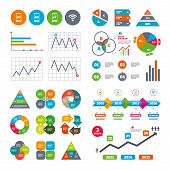 Business data pie charts graphs. Mobile telecommunications icons. 3G, 4G and LTE technology symbols. Wi-fi Wireless and Long-Term evolution signs. Market report presentation. Vector poster