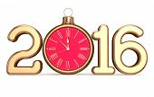 New 2016 Year's Eve date clock Christmas ball bauble decoration Xmas happy wintertime holidays midnight stylized future countdown timer calendar design adornment traditional poster