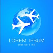 Airplane - logo design template for airlines, travel agencies, travel club, and others. poster