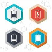 Hexagon buttons. Battery charging icons. Electricity signs symbols. Charge levels: full, half and low. Labels with shadow. Vector poster
