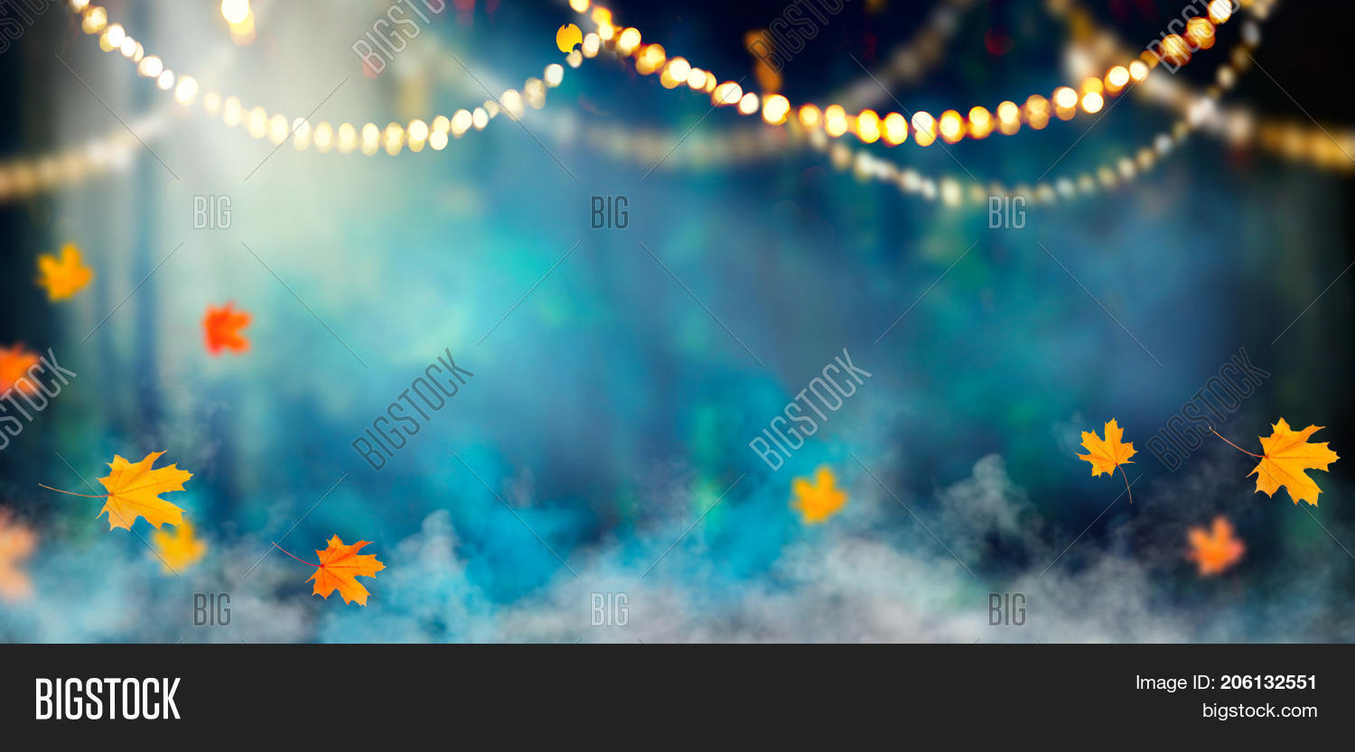 fantasy halloween background beautiful deep forest with garlands smoke and autumn leaves halloween