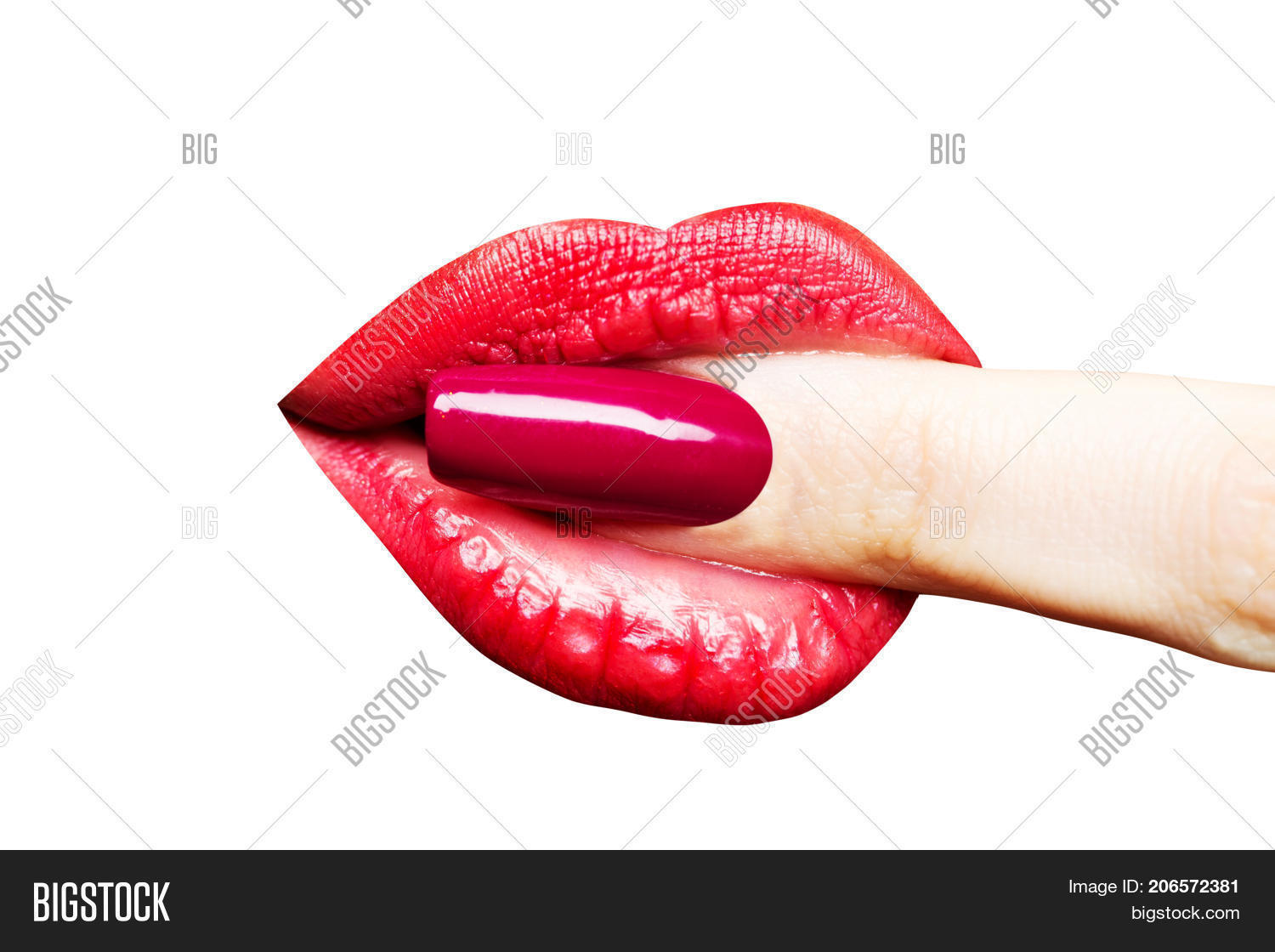 Womens Sexy Finger With Red Nail Polish In The Mouth With The Lips With Red Lipstick