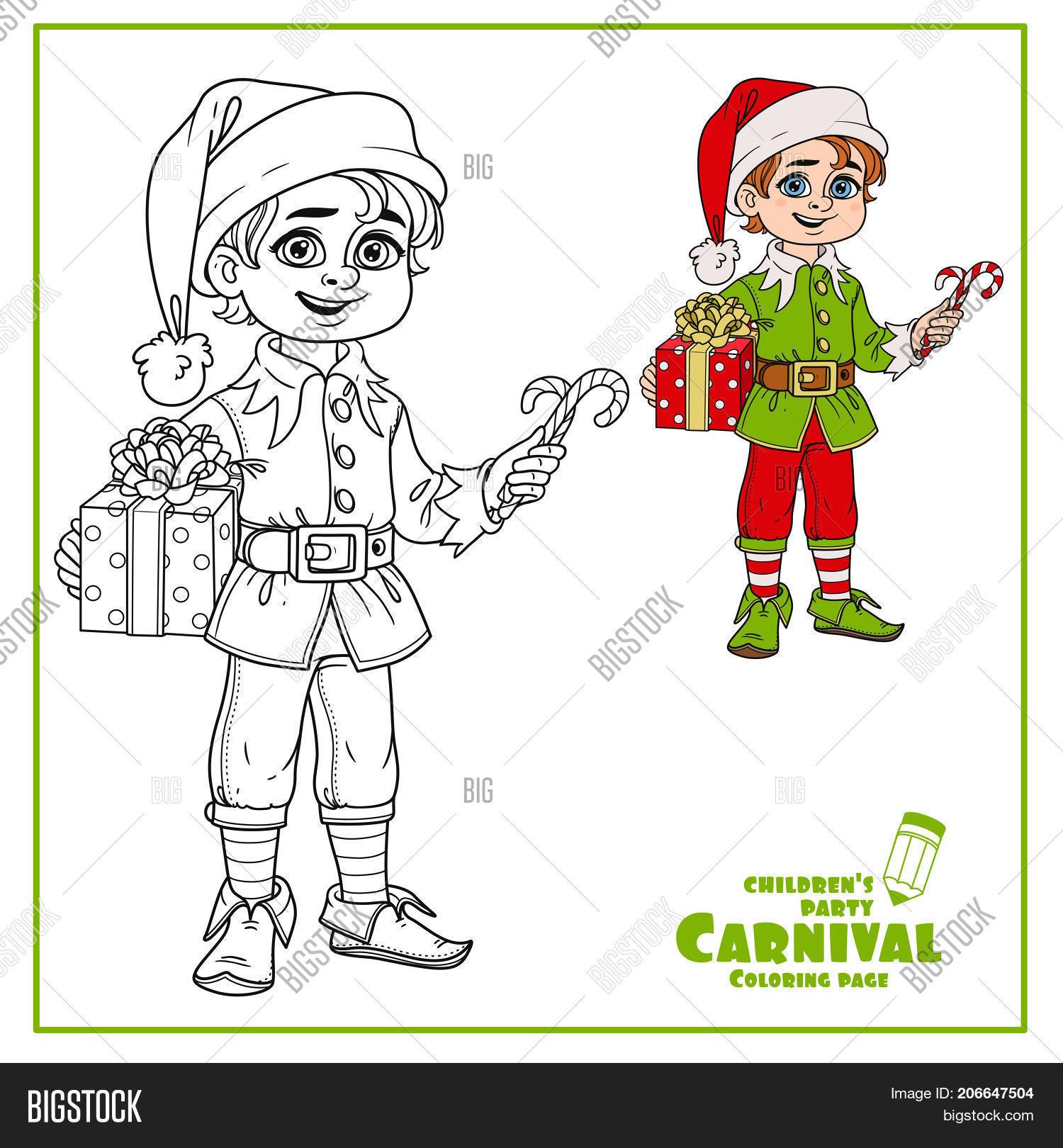 Cute Boy Elf Santa\'s Vector & Photo (Free Trial) | Bigstock