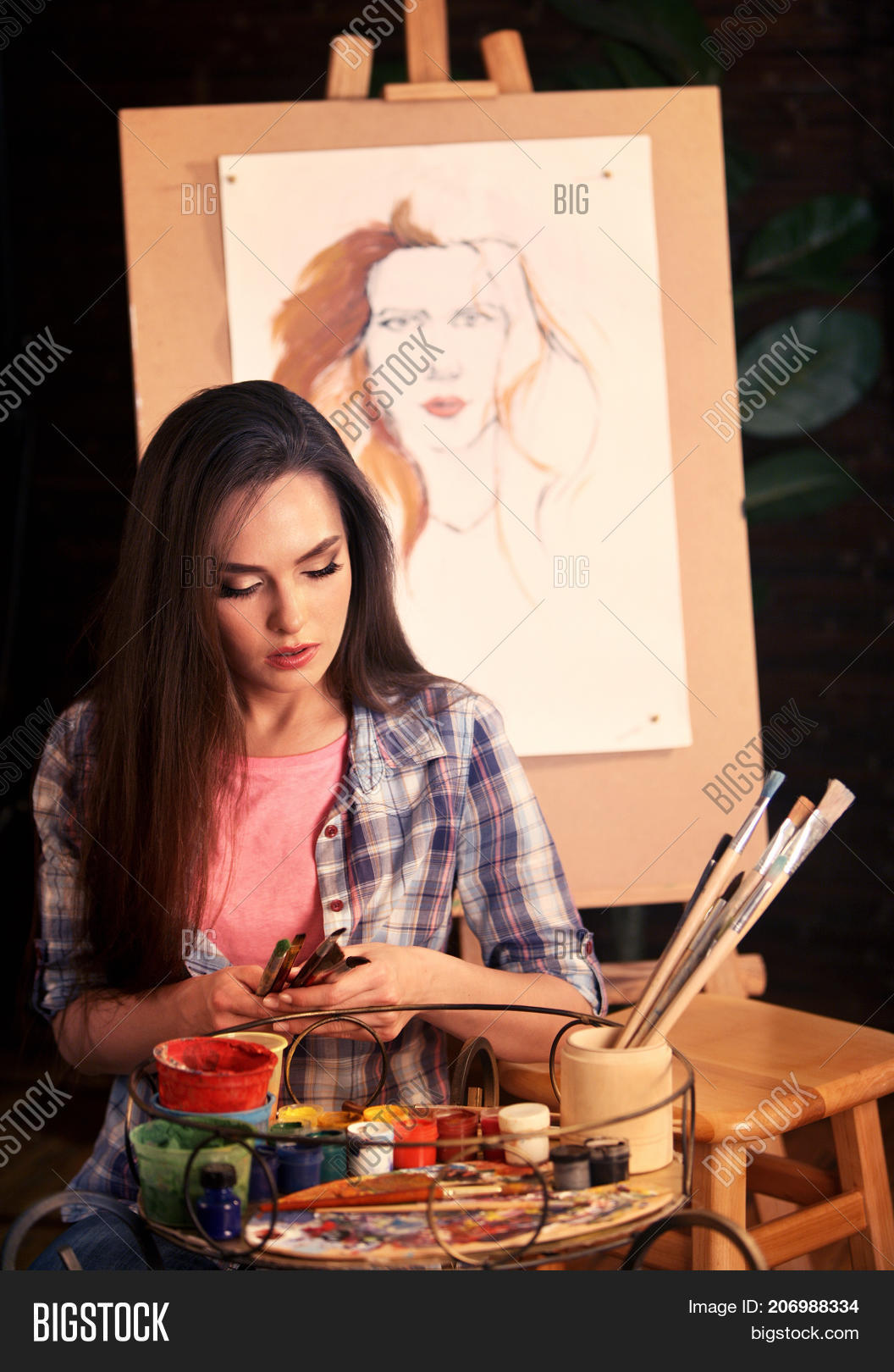 Artist Painting On Image Photo Free Trial Bigstock
