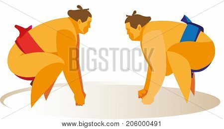 two sumo wrestlers stand in the fighting stance before the start of the fight