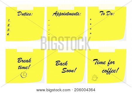 office note papers - business communication concept - duties list - break time