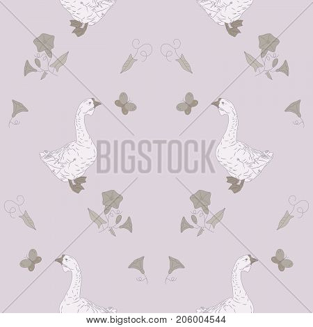 Delicate seamless pattern with geese and wildflowers