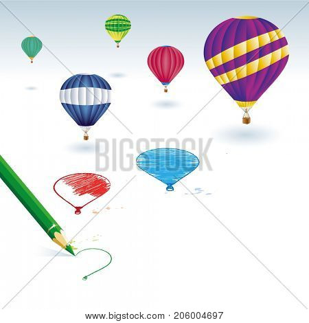 Green pencil with balloons