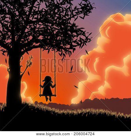 Silhouette of girl on swing. Sunset