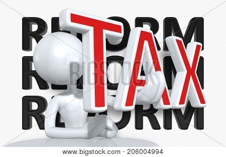 Tax Concept With The Original 3D Character Illustration