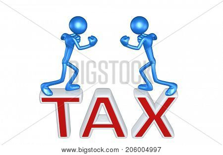 Tax Concept With The Original 3D Characters Illustration