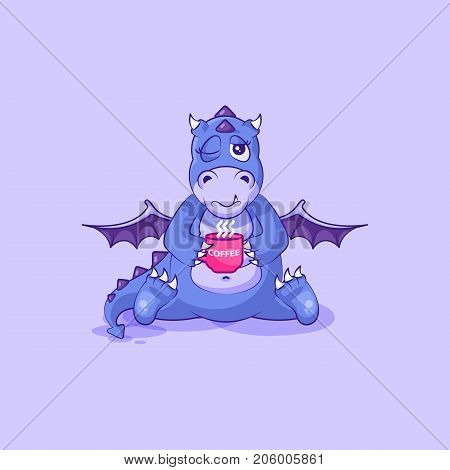 Vector Stock Illustration isolated Emoji character cartoon dragon dinosaur just woke up with cup of coffee sticker emoticon for site, info graphic, video, animation, websites, mail, newsletter, report