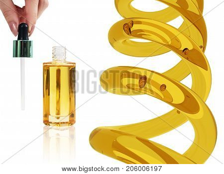 Cosmetic bottle of oil with pipette and spiral flask for distillation. Isolated on white background.