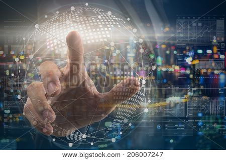 hand of Businessman touching the global network with the earth over the photo blurred of cityscape background and digital virtual screen background business innovation and technology concept, 3D illustration